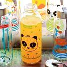 【發現。好貨】韓國卡通萌動物鴨子兔子大象透明運動款密封蓋玻璃杯攜帶玻璃水壺帶拎繩 300ml