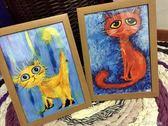油畫 藝術品收藏原創抽象貓繫列手繪裝飾油畫定制家居掛件擺件 coco衣巷