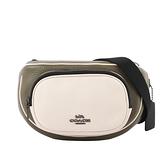 【COACH】荔枝皮革拼色口袋腰包(卡其綠/白色/黑色) C3684 QBRO5
