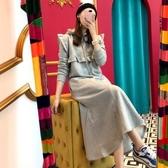 韓版洋裝 連身裙韓國早秋新款木耳邊魚尾大衛衣長款裙子顯瘦氣質連身裙T109-H.1號公館