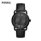 FOSSIL Copeland 三針低調深黑男錶 黑色皮革錶帶42MM FS5665