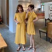 出清288 韓國風慵懶閨蜜裙修身綁帶百搭短袖洋裝
