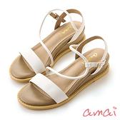 amaiS曲線小坡跟一字涼鞋 白X杏