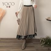 東京著衣【YOCO】優雅恬美鬆緊腰微光澤拼接蕾絲百褶裙(191467)