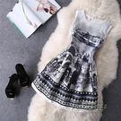 夏裝新款女裝復古印花修身無袖洋裝收腰顯瘦禮服a字蓬蓬裙
