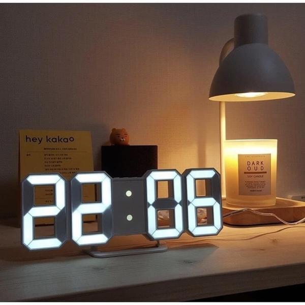 ins韓國爆時尚簡約3D數字鐘LED電子鐘usb插電墻面立體鬧鐘萬年歷 1995生活雜貨