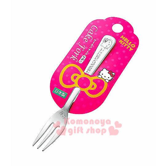 〔小禮堂〕Hello Kitty 日製不鏽鋼叉子《銀.坐姿》實用又可愛
