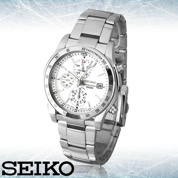 SEIKO 精工手錶專賣店 SNDD03P1  男錶 石英錶 白 不鏽鋼錶殼錶帶 測速錶框 礦物玻璃 防水100米