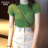 牛油果綠短袖t恤女2019夏季新款純色韓版修身純棉抹茶綠緊身上衣 果果輕時尚