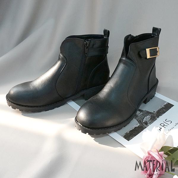 短靴 V開口側釦飾短靴 黑 MA女鞋 T1227