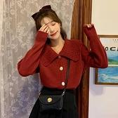 針織開衫 日系圣誕紅色毛衣女秋冬2021年新款韓版復古寬鬆外穿針織開衫外套 嬡孕哺