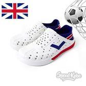 PONY ENJOY 白 深藍紅 洞洞鞋 後跟可踩 水鞋 世足 英格蘭 男女 82U1SA74OW【SP】