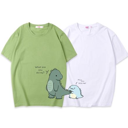 可愛恐龍短袖上衣親子裝(男大人/白色)