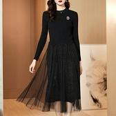 大呎碼洋裝 年新款針織洋裝秋季胖mm中長款黑色網紗裙子 【免運快出】