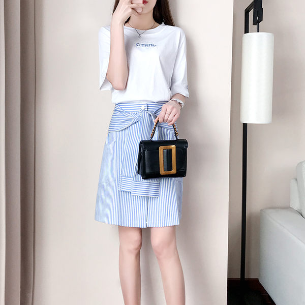 VK旗艦店 韓國風時髦時尚上衣配裙子氣質套裝短袖裙裝