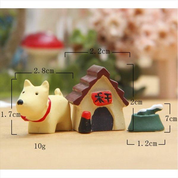 白色小狗+小房+碗微景觀(3入組) 盆栽裝飾【A018018】