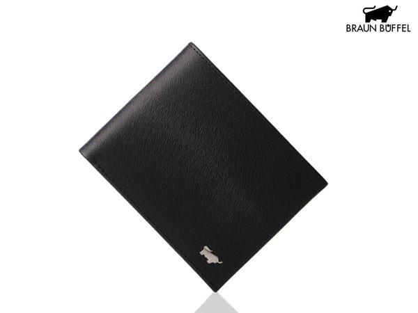 【寧寧精品*台中專賣店】BRAUN BUFFEL 小金牛 提貝里烏斯系列 馬毛紋黑色超薄真皮短夾 BF166-316-1