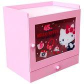 〔小禮堂〕Hello Kitty 木製透明拉門單抽收納櫃《粉.45週年》抽屜盒.木製櫃.置物櫃 4713043-99239