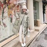 羽絨夾克-白鴨絨-連帽狐狸毛領寬鬆及膝女外套2色73zc33【時尚巴黎】