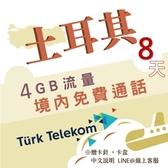 土耳其原生卡|TURK Telekom 8天高速上網吃到飽 免費通話 多天數可選/土耳其網卡原生卡