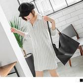 OB嚴選《DA4334-》知性直條紋半開釦襯衫領寬鬆雪紡洋裝.2色--適 S~L