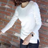 100%棉秋裝款長袖白色T恤女竹節棉韓版打底衫修身顯瘦上衣潮FN1F-A29韓依戀