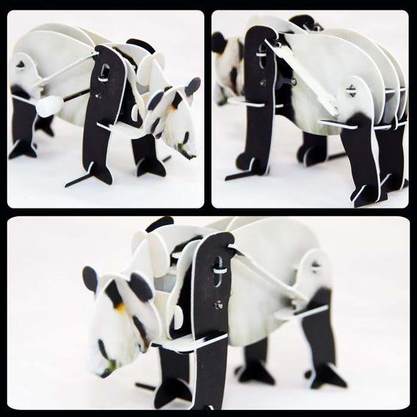 熊貓 貓熊 可愛動物 可動發條式 3D立體拼圖玩具 益智 教育 美勞