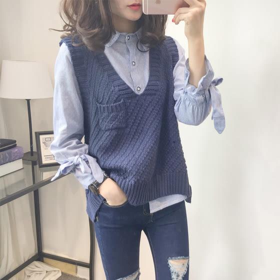 【現貨46】新款女裝V領毛衣馬甲 不規則無袖針織背心 秋季寬鬆套頭上衣 藏青色 淺灰色
