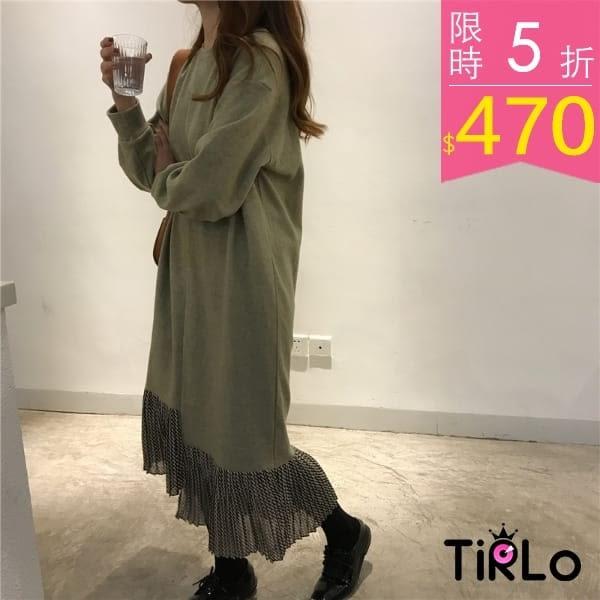 連身裙-Tirlo-氣質拼接雪紡百褶連身裙-兩色(現+追加預計5-7工作天出貨)