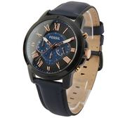 FOSSIL 羅馬時標黑框三眼計時黑框皮革腕錶43mm(FS5061)270514