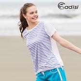 ADISI 女吸濕排汗抗UV中長版條紋上衣AL1711077 (S~L) / 城市綠洲專賣(CoolFree、抗紫外線、速乾散熱)
