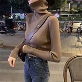 打底衫女秋冬高領長袖針織衫上衣新款緊身內搭堆堆領套頭毛衣 韓美e站