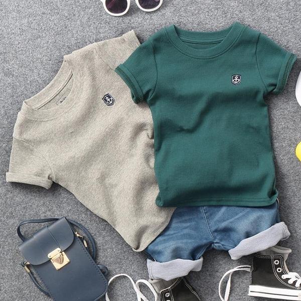 2021夏季新款兒童螺紋棉貼標短袖T恤男童女童寶寶2色半袖體恤衫潮 童趣屋