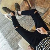 秋季九分牛仔褲男士韓版潮流休閒百搭小腳褲9分修身破洞褲男褲子『艾麗花園』