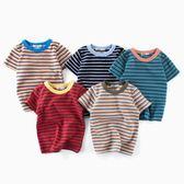 2018童裝夏季新款中小童短袖條紋T恤男童