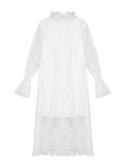 蕾絲連衣裙女裝秋冬2019年新款法式復古氣質白色長袖內搭打底長裙