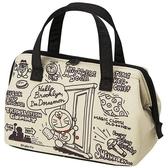 〔小禮堂〕哆啦A夢 硬式支架尼龍保冷手提便當袋《墨綠.漫畫圖》手提袋.野餐袋.保冷袋 4973307-44433