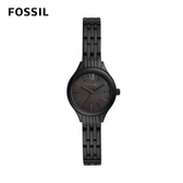 FOSSIL Suitor Mini 極簡全黑珍珠母貝女錶 黑色不鏽鋼鏈帶 26MM BQ3439(極簡全黑女錶鍊帶)