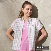 【JEEP】女裝 文青風格三色線條格紋短袖襯衫 (白色)
