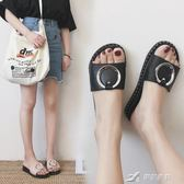 韓版休閒軟底居家室內拖鞋女夏外穿平底防滑學生簡約百搭一字拖女 樂芙美鞋