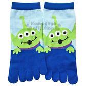 〔小禮堂〕迪士尼 三眼怪 成人五指襪《藍綠..大臉》23-25cm.短襪.棉襪 4549204-30614