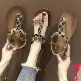 夏季涼鞋女新款百搭仙女風平跟夾腳學生羅馬鞋女串珠沙灘女鞋
