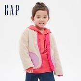 Gap女幼童 保暖仿羊羔絨拉鍊拉鍊外套 614529-米黃色