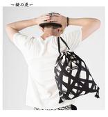 FREEIN2018原創設計黑白涂鴉印花後背包抽繩包束口袋便攜背包上新【櫻花本鋪】