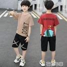 男童套裝男童短袖套裝夏裝新款兒童中大童時尚休閒洋氣上衣中褲兩件套 快速出貨