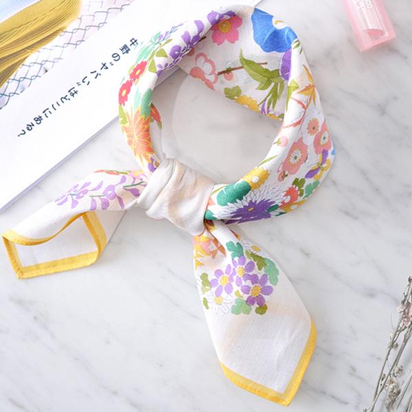 日本集彩苑 - Flower 百花繚乱gauze絲巾/圍巾/方巾(白)《日本設計製造》
