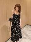 春季新版中長版碎花百褶黑色吊帶連衣裙女海邊渡假無袖背心裙