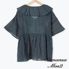 「Summer」棉麻蕾絲翻領短袖襯衫上衣 (提醒 SM2僅單一尺寸) - Sm2