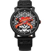 Tendence 天勢 骷髏紅心手錶-黑/47mm TG230403
