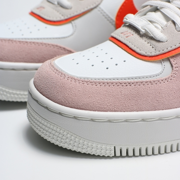 NIKE 休閒鞋 AIR FORCE 1 SHADOW 白灰粉酒紅 拼接 解構 雷射 厚底 女(布魯克林) CU8591-600
